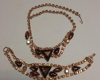 Amber & Topaz Rhinestone Necklace and Bracelet
