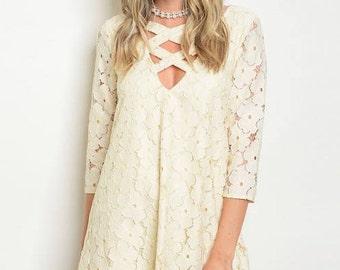 Lace Dress/Summer Dress/ Simple Dress/ Casual Dress/ Clothes/ Fashion Clothe/ Ivory Dress