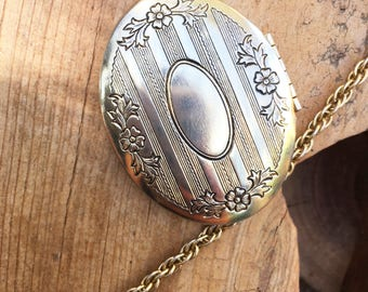 Vintage Ornate Gold Toned Locket Long Chain