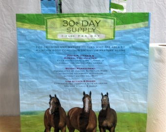 Recycled Feed Bag Tote, reusable tote bag, grocery tote, recycled shopping bag, reusable grocery bag, recycled tote bag, Purina horse