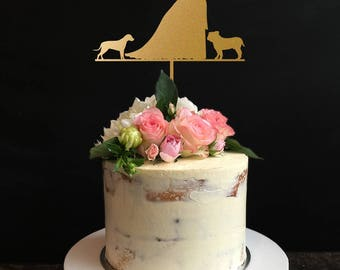 silhouette Wedding Cake Topper,Couple Cake Topper with Dog ,Custom Cake Topper, Bride And Groom Cake Topper, Mr And Mrs Cake Topper,