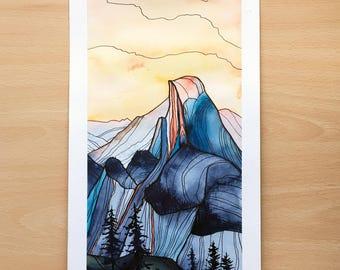 Original illustration Watercolour - Yosemite