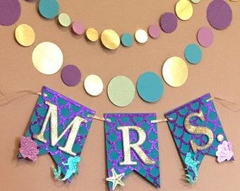 Mermaid MRS. Banner, Mermaid Bridal Banner, MRS. Bridal Banner, Mermaid Bachelorette Party, Mermaid Party Banner, Mermaid Bachelorette,