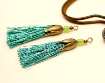 2 Turquoise, 45 mm Pompom tassels handmade Pearl Green Apple, Metal Bronze tassel