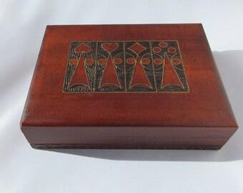Polish Box, Vintage Carved Wood Box, Hinged Box, Inlaid Box, Wood Carved Box, Poland Wood Box, Poland Wood, Dad's Gift, Men's Gift, Wood Box