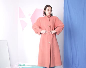 full length coat, wool apricot minimal coat, vintage pastel orange winter coat, warm button up maxi coat