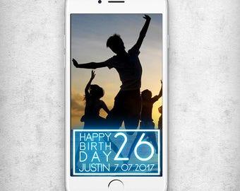 Neon snapchat filter Birthday geofilter Birthday snapchat filter 26th Birthday geofilter Birthday party snapchat filter Blue neon snapchat