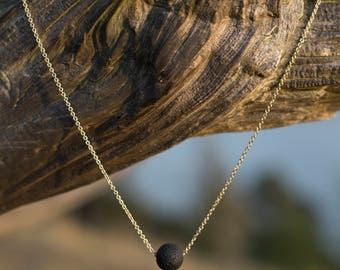 Simple Lava Stone Diffuser Necklace - Gold or Silver