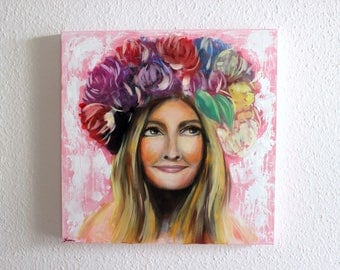 Oil Painting on Canvas - Flower Crown, Woman Portrait, Girly Art, Dreamy Painting, Contemporary Art