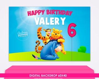 Digital backdrop - Winnie the Pooh Birthday Backdrop, Pooh banner, winnie pooh decor, pooh party supplies, pooh birthday party, disney theme