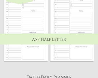 "2018 Dated Daily Printable Planner Inserts, DO1P w/ To Do List, Time Blocking, Daily Gratitude ~ A5 / 5.5"" x 8.5"" Instant Download (DV3)"