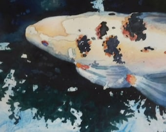 Koi 2 Original Watercolor Painting 8 inches X 10 inches Fish Blue Green