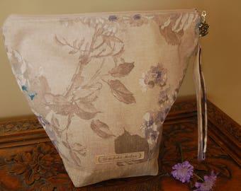 Linen Florals Knitting Project Bag, medium