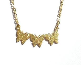 Butterfly Necklace-Yellow Gold Necklace-Stainless Steel Necklace-Gift for Her