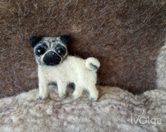 Needle Felt Brooch Wool Pug Dog Pin Cute Felted Poppy Pin Pet Breed Portrait Pet Loss Gift Wool Animal Jewelry Pug Mom Gift Replica Broach