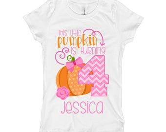 Pumpkin Birthday Shirt - Girls 4th Birthday Shirt Baby Outfit- Fourth Birthday Shirt 4 - Girls Pumpkin Fall Birthday Shirt Baby Outfit - SD