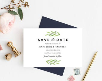 Leafy Greenery Watercolor Save The Date Printable Template, Save The Date Card Template, Printable Save Date Card Templates Instant Download