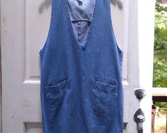 Vintage Denim Dress - Deep-V Shift Dress
