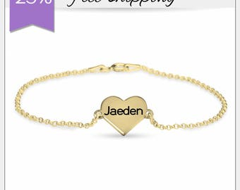 Personalized  Heart Name Bracelet • Dainty Engraved Heart Bracelet • Gift for Mother • Personalized Bridesmaid Gift • Customized Bracelet