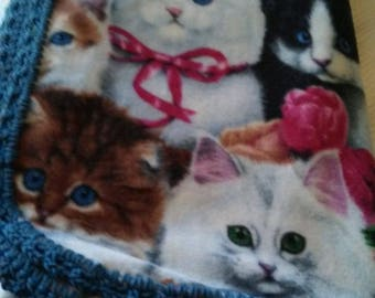 Soft Kittens / Cats Child or Baby Blanket With Hand-Made Dark Blue Crochet Trim