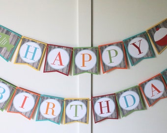 Fishing Birthday Banner - Fishing Birthday Decorations Fully Assembled - Gone Fishing Birthday Party Banner