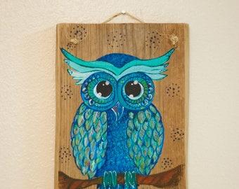 Hand-Painted Owl on Wood