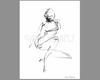 009 Pencil sketch Figure Drawing, Abstract Black and White Art, Ink Print from My Original Artwork by Ann Adams
