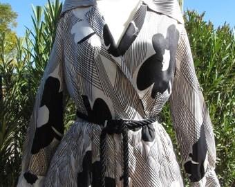 Vintage 60s – 70s Black and White Hostess Dress, Quilted Full-Length Skirt, Dela-Ann Creation