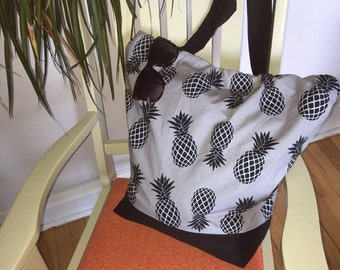Pineapple bag , bag , summer , beach bag , grey and black
