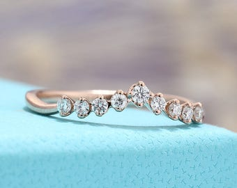 Curved Wedding Band Women Diamond Half Eternity antique