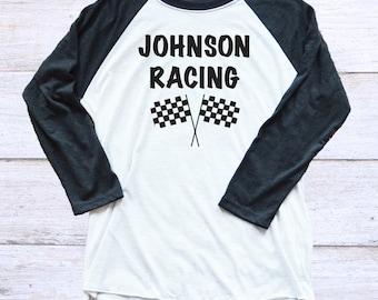 Personalized Racing Shirt - 3/4 Sleeve Unisex Race Day Shirt -  Motocross - BMX - Go Kart Racing - Nascar - Race Fan Shirt - Racing Family