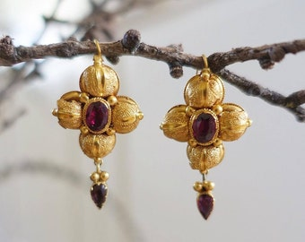 Antique Victorian 15 ct Garnet Earrings