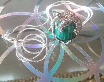 Malachite Dragon ball crystal necklace with 925 silver chain