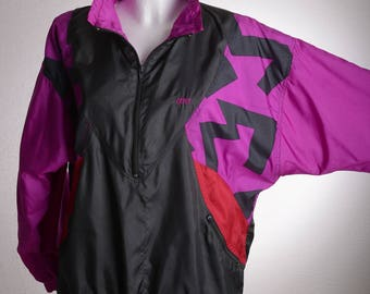 Vintage Bold Colourful ETIREL 80s 90s Track Jacket Purple Red Oversized - Sz. S