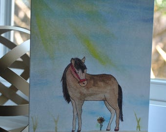 Beautiful {blank} Watercolor Greeting Card made by 8 year-old artist: horse