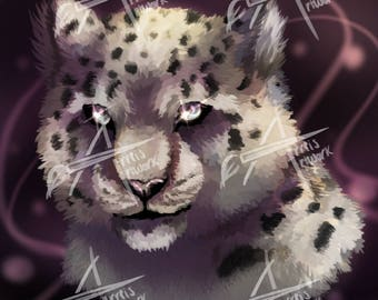 Fixate- Snow Leopard Digital Painting Computer Background Poster