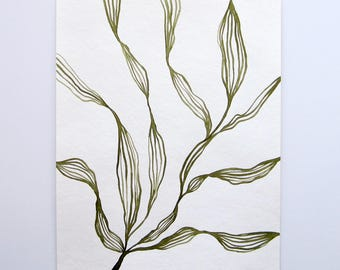 Leaf Abstraction Study I Original Painting on Paper