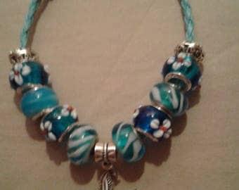 Beachy Blues Charm Bracelet with a Starfish Charm