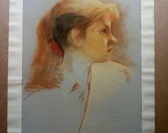 Original painting,pastel painting,VINTAGE FEMALE PORTRAIT,1980's Female Portrait,Fine Soviet Art,Portrait,Woman Portrait,warm tones,1980s