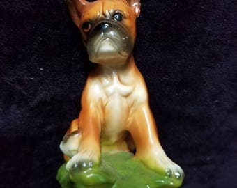 Norleans Japan Ceramic Boxer Dog Figurine