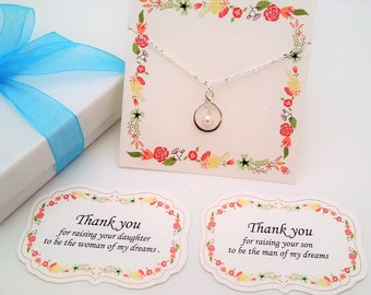THANK You for Raising the MAN of My DREAMS Mother of Groom Gift Mother In Law Gift from Bride White Pearl Necklace Silver Infinity Necklace