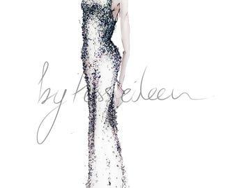 Crystal gown, Wedding Fashion Print
