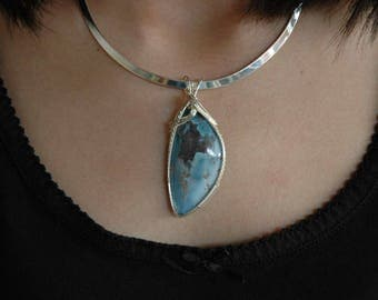 Rare Sky Blue Celestial Jasper Pendant Wrapped in Sterling Silver P32