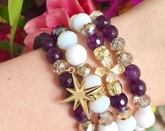 Bali Stack Bracelets Beaded Bracelets Layering Bracelets Stretch Bracelets