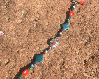 Simple Native Inspired Multicolored Beaded Bracelet with Feather and Stone Dangles