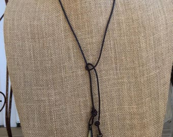 Long Brown Leather Cord Wrap Necklace with Two Stone Pendants