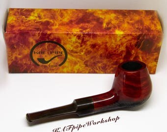 "Briar Tobacco Pipe ""Apple"" #2/Smoking pipe/Hand carved briar pipe/Tobacco pipe Rusticated/Handmade wooden pipe/Apple pipe/Pipa/Tabakpfeife"