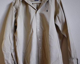 Ralph Lauren // Medium // Polo Beige Long Sleeve Button-Down Shirt //