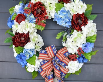 Patriotic Front Door Wreath/4th of July Wreath/ Summer Wreath/Grapevine Wreath/White Hydrangea Wreath/ Country Wreath/ Shabby Chic Wreath