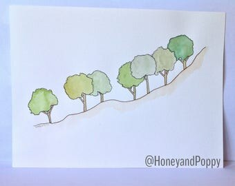 A Line of Trees on a Slope - Original